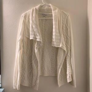 Cabi White Open Cardigan Sweater